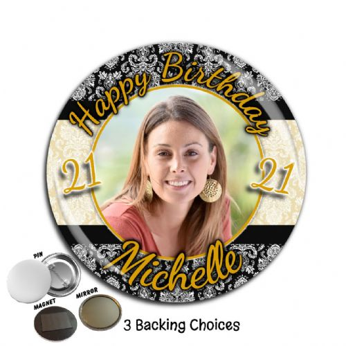 Large 75mm Personalised Black & Gold Happy Birthday PHOTO Badge N50 (Pin / Magnet / Mirror Backing)
